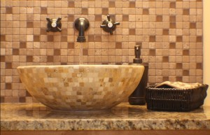 Mixed Travertine Mosaics Basin