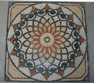 Natural Stone Mosaics- Roman Wheel